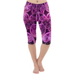 Fractal Math Geometry Visualization Pink Lightweight Velour Cropped Yoga Leggings