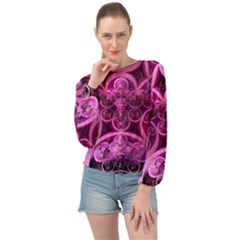 Fractal Math Geometry Visualization Pink Banded Bottom Chiffon Top