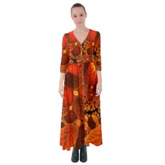 Leaf Autumn Nature Background Button Up Maxi Dress