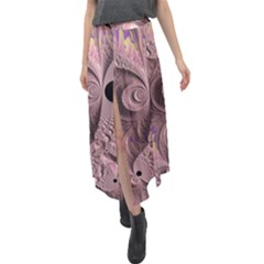 Fractal Tender Rose Cream Velour Split Maxi Skirt by Pakrebo