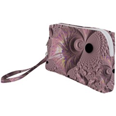 Fractal Tender Rose Cream Wristlet Pouch Bag (small)