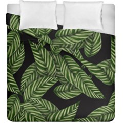 Leaves Pattern Tropical Green Duvet Cover Double Side (king Size)