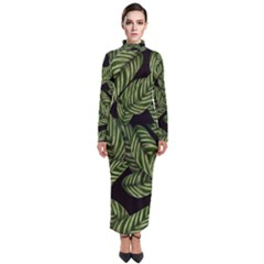 Leaves Pattern Tropical Green Turtleneck Maxi Dress