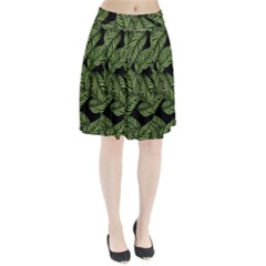 Leaves Pattern Tropical Green Pleated Skirt