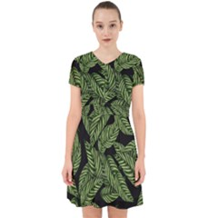 Leaves Pattern Tropical Green Adorable In Chiffon Dress