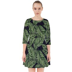 Leaves Pattern Tropical Green Smock Dress
