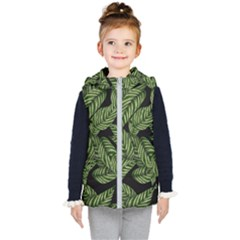 Leaves Pattern Tropical Green Kids  Hooded Puffer Vest