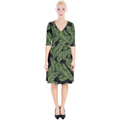 Leaves Pattern Tropical Green Wrap Up Cocktail Dress