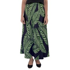 Leaves Pattern Tropical Green Flared Maxi Skirt