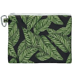 Leaves Pattern Tropical Green Canvas Cosmetic Bag (xxl)