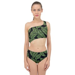 Leaves Pattern Tropical Green Spliced Up Two Piece Swimsuit