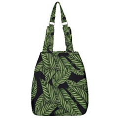 Leaves Pattern Tropical Green Center Zip Backpack