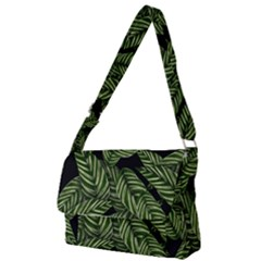 Leaves Pattern Tropical Green Full Print Messenger Bag