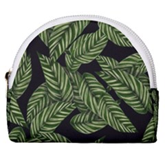 Leaves Pattern Tropical Green Horseshoe Style Canvas Pouch