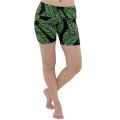 Leaves Pattern Tropical Green Lightweight Velour Yoga Shorts