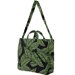 Leaves Pattern Tropical Green Square Shoulder Tote Bag
