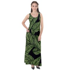 Leaves Pattern Tropical Green Sleeveless Velour Maxi Dress
