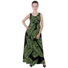 Leaves Pattern Tropical Green Empire Waist Velour Maxi Dress