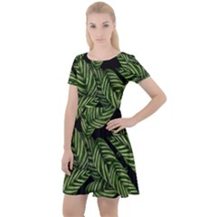 Leaves Pattern Tropical Green Cap Sleeve Velour Dress