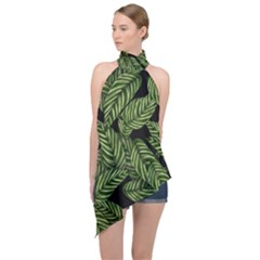 Leaves Pattern Tropical Green Halter Asymmetric Satin Top