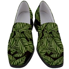 Leaves Pattern Tropical Green Women s Chunky Heel Loafers