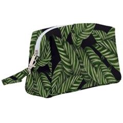 Leaves Pattern Tropical Green Wristlet Pouch Bag (large)