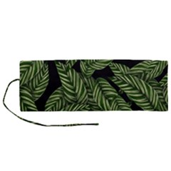 Leaves Pattern Tropical Green Roll Up Canvas Pencil Holder (m)