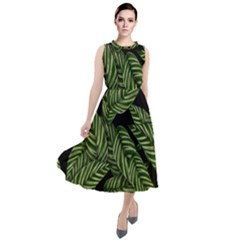 Leaves Pattern Tropical Green Round Neck Boho Dress
