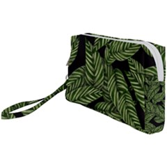 Leaves Pattern Tropical Green Wristlet Pouch Bag (small)