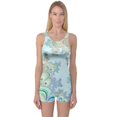 Pattern Background Floral Fractal One Piece Boyleg Swimsuit