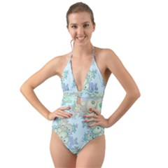 Pattern Background Floral Fractal Halter Cut Out One Piece Swimsuit