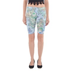 Pattern Background Floral Fractal Yoga Cropped Leggings