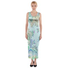 Pattern Background Floral Fractal Fitted Maxi Dress