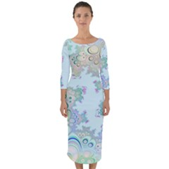 Pattern Background Floral Fractal Quarter Sleeve Midi Bodycon Dress