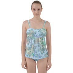 Pattern Background Floral Fractal Twist Front Tankini Set