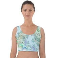 Pattern Background Floral Fractal Velvet Crop Top