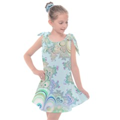Pattern Background Floral Fractal Kids  Tie Up Tunic Dress