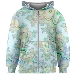Pattern Background Floral Fractal Kids  Zipper Hoodie Without Drawstring