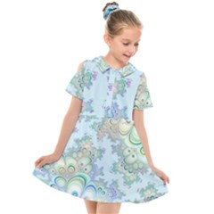 Pattern Background Floral Fractal Kids  Short Sleeve Shirt Dress