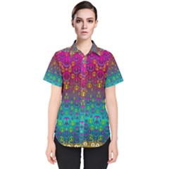 Signs Of Peace  In A Amazing Floral Gold Landscape Women s Short Sleeve Shirt