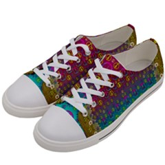 Signs Of Peace  In A Amazing Floral Gold Landscape Women s Low Top Canvas Sneakers by pepitasart