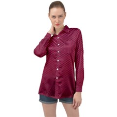 Anything You Want  Red Long Sleeve Satin Shirt by WensdaiAmbrose