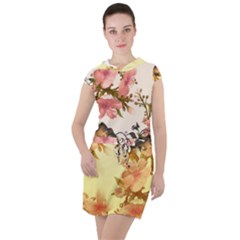 A Touch Of Vintage, Floral Design Drawstring Hooded Dress