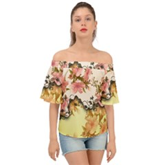 A Touch Of Vintage, Floral Design Off Shoulder Short Sleeve Top by FantasyWorld7