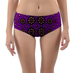 Hearts Of Metal And Flower Wreaths In Love Reversible Mid-waist Bikini Bottoms by pepitasart
