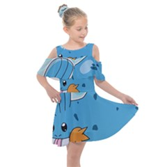 Patokip Kids  Shoulder Cutout Chiffon Dress by MuddyGamin9