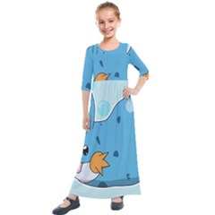 Patokip Kids  Quarter Sleeve Maxi Dress by MuddyGamin9