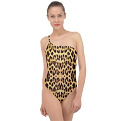 Leopard Skin Classic One Shoulder Swimsuit by ArtworkByPatrick