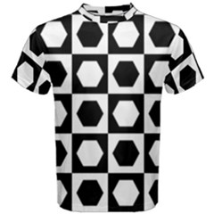 Chessboard Hexagons Squares Men s Cotton Tee