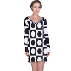 Chessboard Hexagons Squares Long Sleeve Nightdress